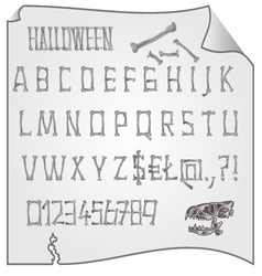 Alphabet from bones halloween mystery fonts vector