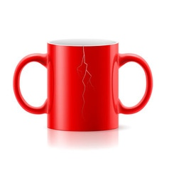 Red mug with two handles vector