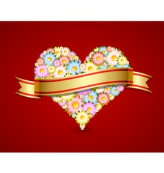 Floral heart with ribbon vector