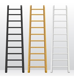 Wooden step ladders set of different colors vector