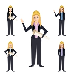Set of engineer women vector image