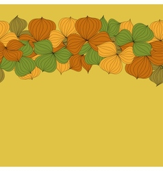 seamless doodle border frame of autumn leaves vector image