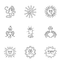 A set of pictures about bacteria and viruses vector