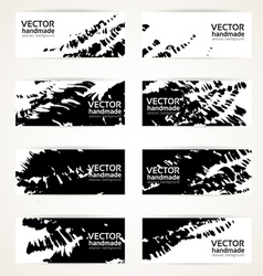 Abstract black hand drawn by brush banners vector image vector image