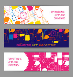 Advertising banners with promotional gifts and vector