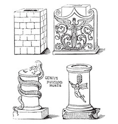 Altars either square or round vintage engraving vector