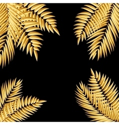 Beautifil golden palm tree leaf silhouette vector