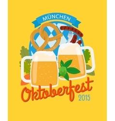 Beer mug and pretzel oktoberfest poster vector