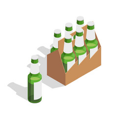 beer pack isometric composition vector image vector image