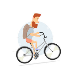 bicycle bearded guy character hipster style vector image vector image