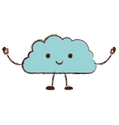 cloud cartoon kawaii in colorful blurred vector image