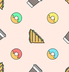 Coffee paper cup donut sandwich colored seamless vector