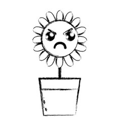 Contour kawaii beauty and angry flower plant vector