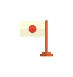Flat cartoon japan flag on wooden flagpole vector