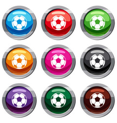 football soccer ball set 9 collection vector image