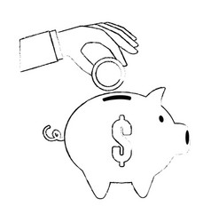 Hand saver with piggy savings and coins vector