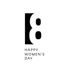happy womens day sign black negative space vector image