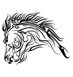 line art horse head tattoo sketch vector image