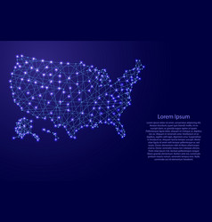Map of usa from polygonal blue lines vector
