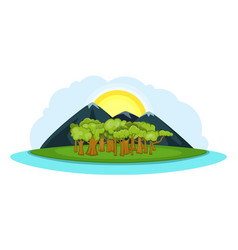 Nature landscape banner horizontal cartoon style vector