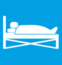 Patient in bed in hospital icon white vector