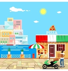 Pizza restaurant building with terrace vector image