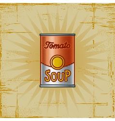 Retro Tomato Soup Can vector image vector image