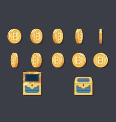 rotation animation coin bitcoin technology digital vector image vector image