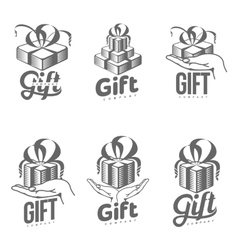 Set of black and white graphic gift box logo vector