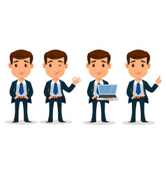 set of business man cartoon character in smart vector image vector image