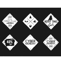 Set of Christmas cyber monday sale ink vector image