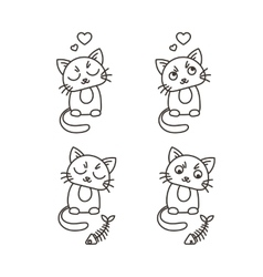 Set of cute cat characters Satisfied fed kittens vector image vector image
