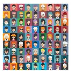 Set of people icons in flat style with faces 21 b vector