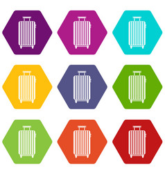 Suitcase on wheels icon set color hexahedron vector