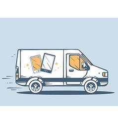Van free and fast delivering phone to cus vector