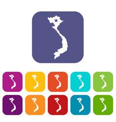 Vietnam map icons set vector