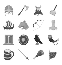Vikings set icons in monochrome style big vector