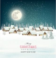Winter village night background vector