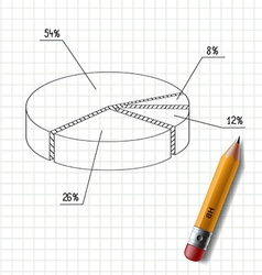 Wooden pencil and graph drawn on a sheet of vector