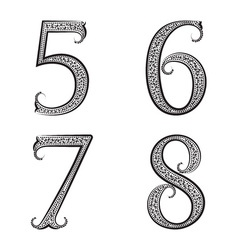 Five six seven eight vintage patterned numbers vector