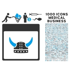 Horned ancient helmet calendar page icon with 1000 vector