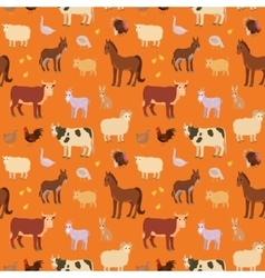 Seamless pattern with cartoon farm animals vector image