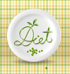 Green menu word on plate vector
