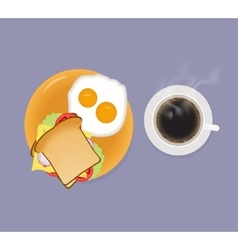Breakfast with coffee sandwich and fried eggs top vector