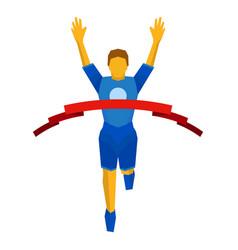 athlete crosses finish line red ribbon vector image