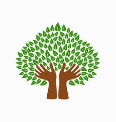 Green human hand tree symbol for community help vector