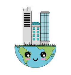 Kawaii earth planet icon vector