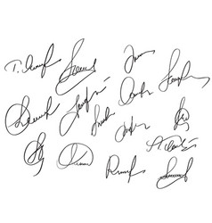 Manual signature for documents on white background vector