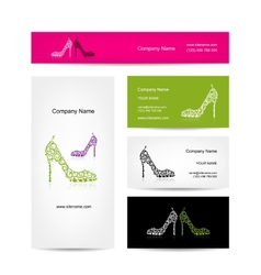 Business cards design ornate female shoes vector