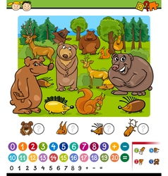 Counting animals cartoon game vector